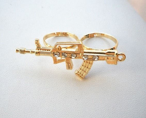 New Fashion Crystal Gold Plated Gun Double Finger Ring Size Adjustable | eBay