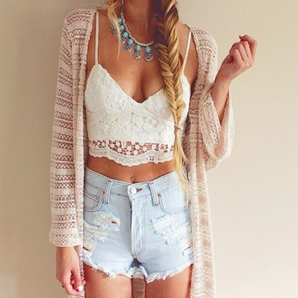 necklace jewels jeans white cardigan lace top