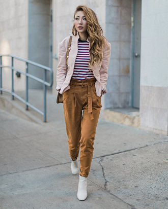 pants tumblr mustard top stripes striped top jacket pink jacket boots white boots ankle boots