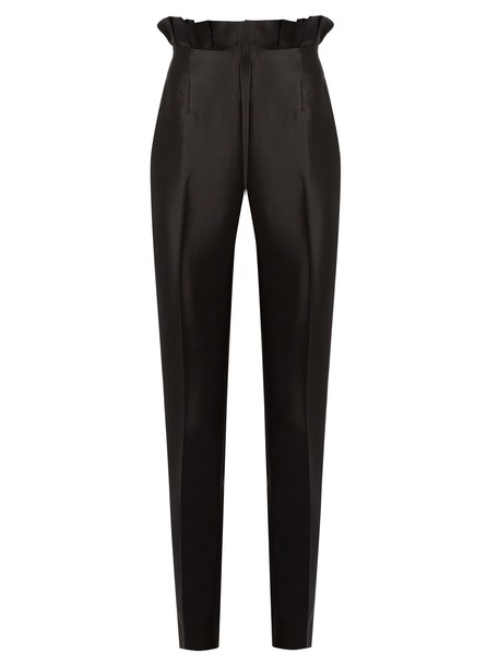 silk wool black pants