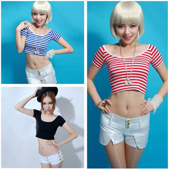2014 Good Quality Women Sexy Slim Crop tops Short sleeve Striped crop tank shirt Cotton Womans Blue Pink Red Graphic Tee T05-inT-Shirts from Apparel & Accessories on Aliexpress.com