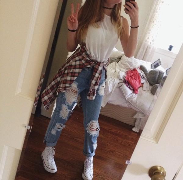 jeans blouse shoes necklace choker necklace flannel
