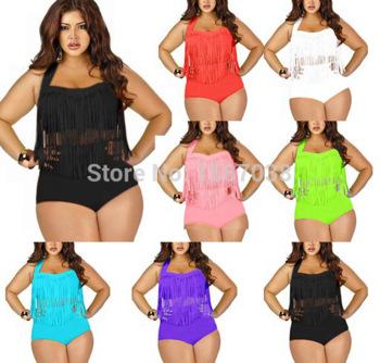 8be16a1de782e Aliexpress.com   Buy 2015 Newest Plus Size Swimwear For Women Fringe  Tassels Bikini High Waist Swimsuit ...