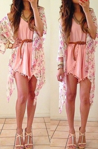 dress jacket romper cardigan coat sweater jewels gold fashion vibe jelwery ebay pink dress pastel goth pink jumpsuit light pink romper floral kimono rinasenorita short dress