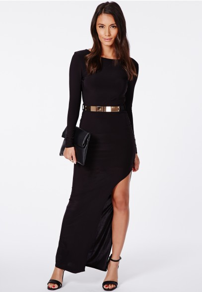 Claudia Backless Slinky Maxi Dress With Belt - Dresses - Maxi Dresses - Missguided