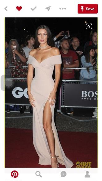 dress bella hadid nude dress hugo boss