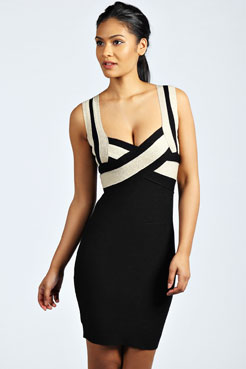 Serena Contrast Colour Bandage Bodycon Dress at boohoo.com