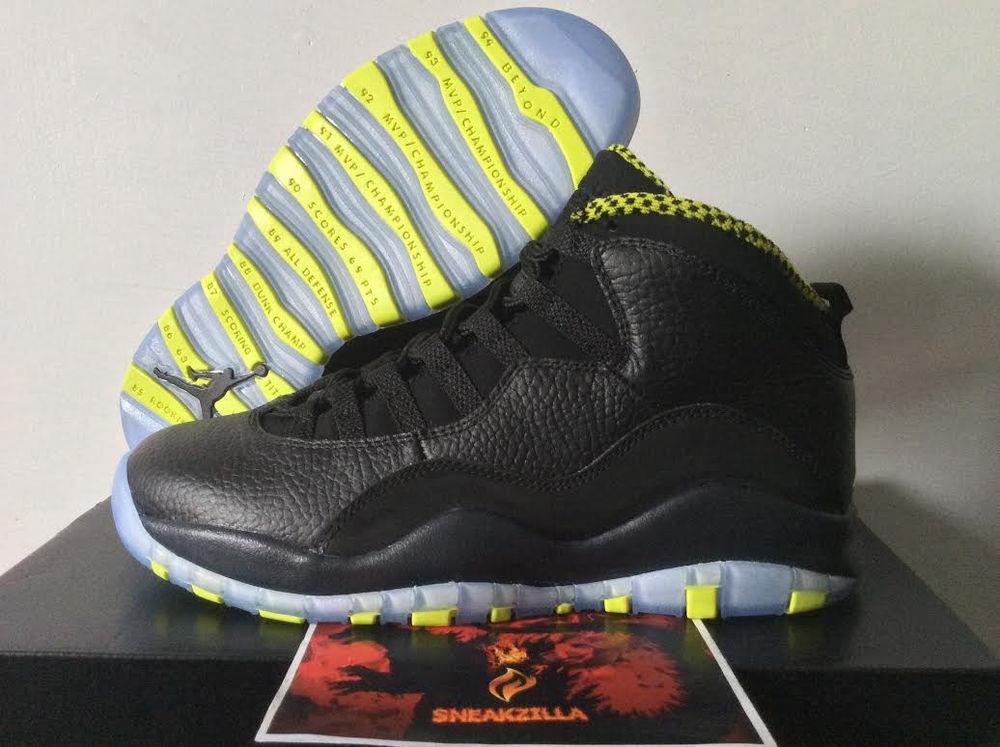 super popular be8e8 2493c Nike Air Jordan Retro x 10  Venom Green  Black Cool Grey 4 14 Mens GS   eBay