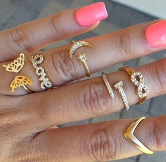 jewels jewelry gold ring gold ring knuckle ring stacked ring