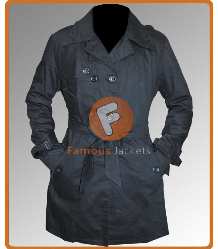 Silver Linings Playbook Jennifer Lawrence Tiffany Black Cotton Trench Coat