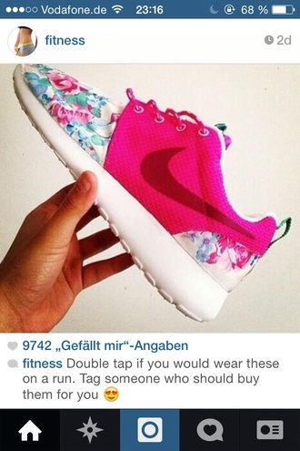 shoes pink nike running shoes nike roshe run floral