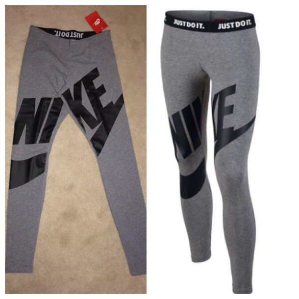 1afcee45909aa leggings grey nike women sexy grey exposed logo legasee leg a see black  rally cotton tight