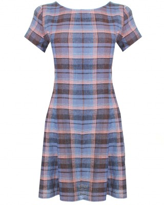 LOVE Blue And Grey Tartan Scoop Back Tea Dress - In Love With Fashion