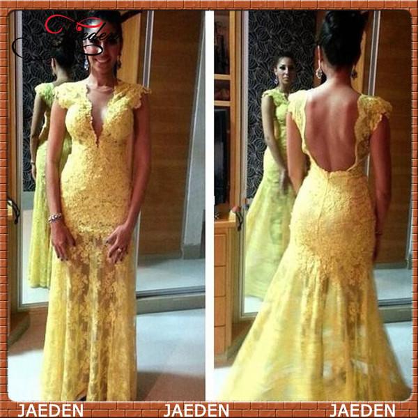 yellow evening dress open back prom dress
