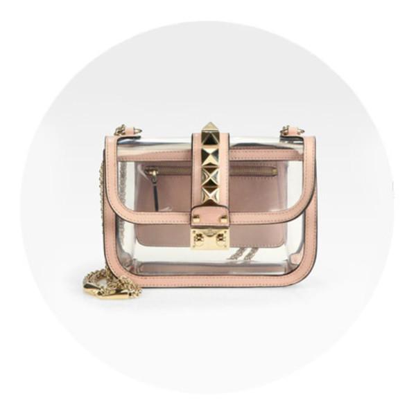 bag transparent  bag studs Valentino designer bag