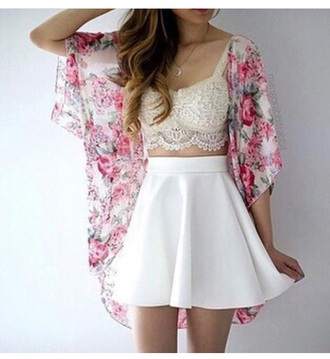 top tank top crop tops lace top cute top cute peplum skirt white skirt kimono cardigan floral necklace accessories outfit date outfit summer outfits spring outfits mini skirt high waisted high waisted skirt