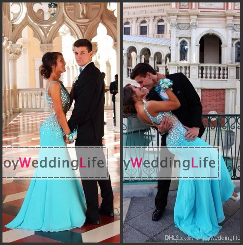 Discount 2015 Sexy New Light Blue V Neck Chiffon Prom Dresses Beaded Crystals Top Sheer Waist Floor Length Evening Gowns Online with $139.27/Piece | DHgate