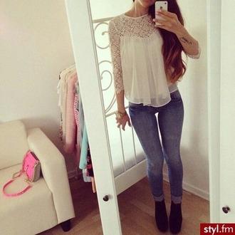 blouse chemisier dentelle white blanc cute top cute