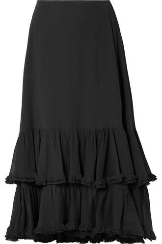 skirt midi skirt midi cotton black silk