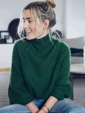 top,dark green,high neck,soft,green sweater,turtleneck sweater