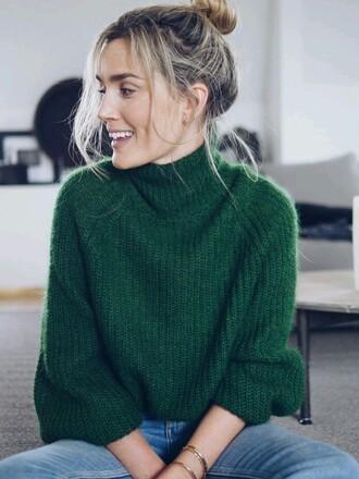top dark green high neck soft green sweater turtleneck sweater