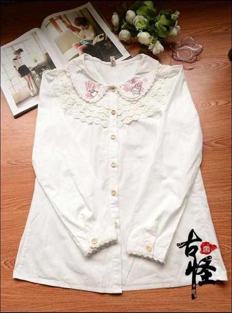 blouse totoro japanese anime white blouse