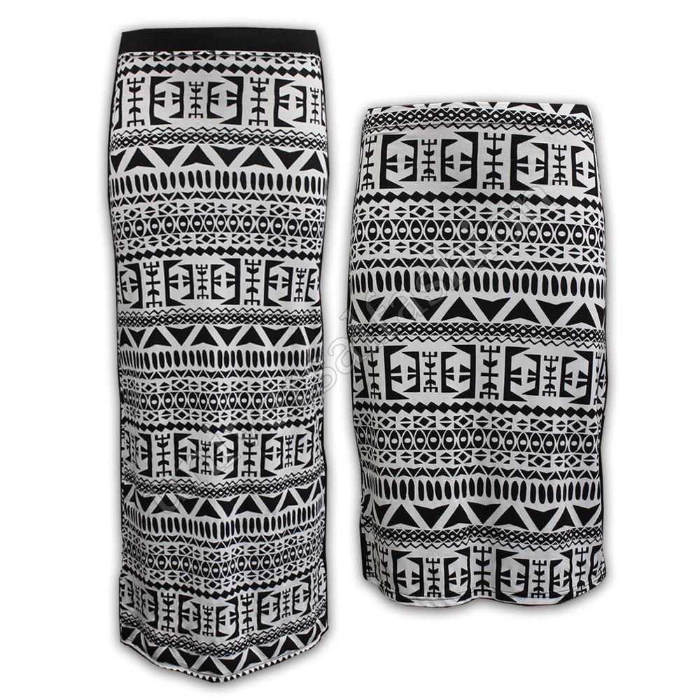 Ladies Skirt Women Maxi Jersey Pencil Long Bodycon Aztec Tribal Print MIDI 3 4