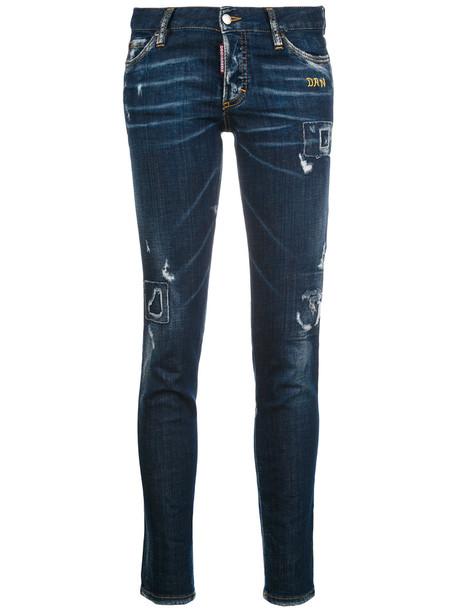 Dsquared2 jeans women spandex leather cotton blue