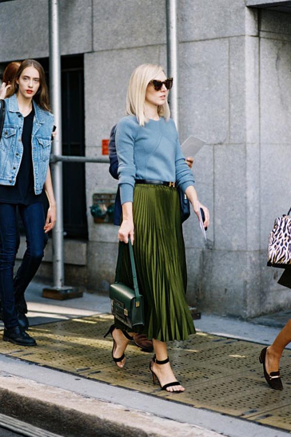 Skirt: vanessa jackman, blogger, pleated skirt, fall outfits ...