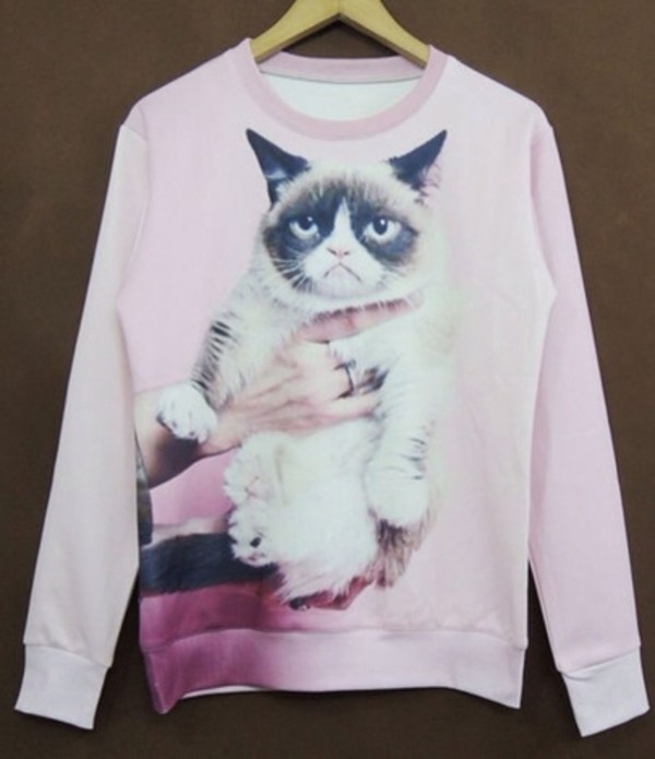 sweater grumpy cat pink cute crewneck cats
