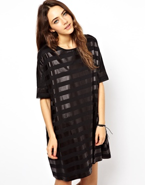 ASOS | ASOS T-Shirt Dress With Wet Look Stripe at ASOS
