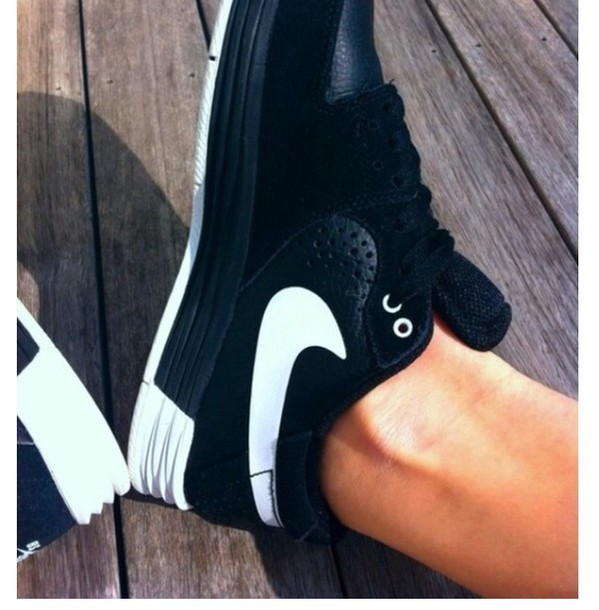 shoes black nike leather shoes trainers sneakers swoosh