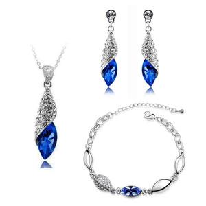 Jewellery Set Dark Royal Blue Crystal Teardrop Earrings Necklace & Bracelet S286   Amazing Shoes UK