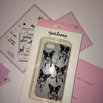 phone cover yeah bunny frenchie dog glitter
