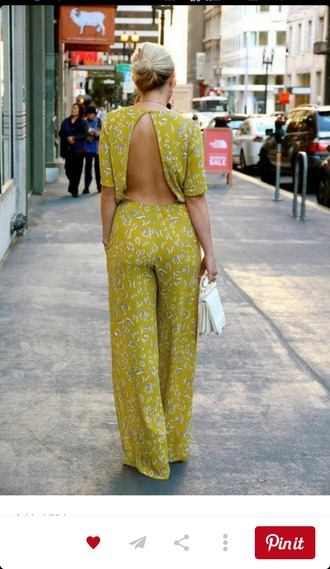 jumpsuit romper green sexy backless jumpsuit yellow jumpsuit open back backless palazzo jumpsuit bag white bag date outfit