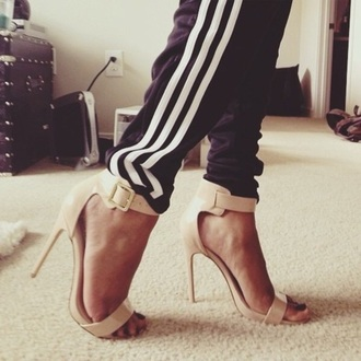 shoes beige shoes high heels heels with straps