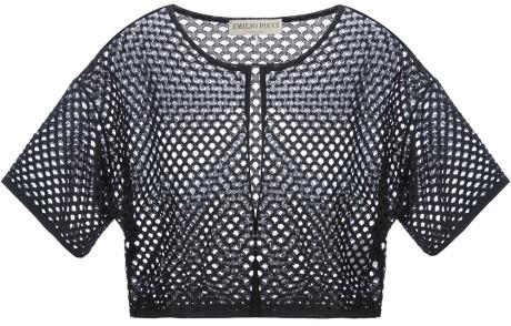 Emilio Pucci Mesh Crop Top in Black | Lyst