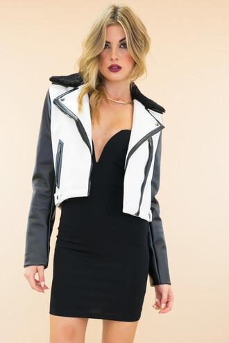 jacket leather jacket moto jacket little black dress bodycon dress haute & rebellious