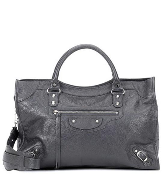 Balenciaga Classic City Medium leather tote in grey