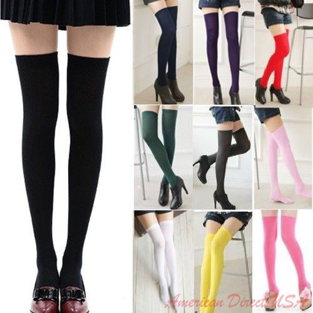 77fb93d77d1 Sexy Womens Lady Girls Fashion Opaque Knit Over Knee Thigh High ...