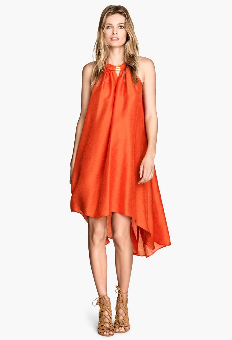 Orange Sleeveless Loose High Low Dress - Sheinside.com