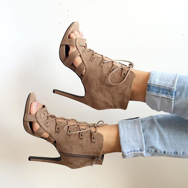3380481cf488 Taupe Faux Suede Lace Up Cut Out Heels   Cicihot Heel Shoes online ...