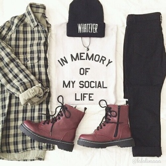 shirt beanie.  black whatever style in memory of my social life pants jeans boots necklace grunge grunge jewelry grunge top grunge jean jacket yin yang shoes blouse hat