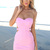 Pink Mini Dress - Pink Sweetheart Neck Strapless Dress | UsTrendy