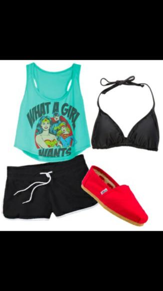 pink shoes black bathingsuit superhero black shorts