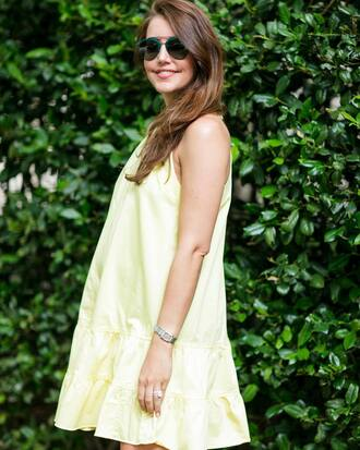 dress tumblr mini dress yellow yellow dress sunglasses summer dress summer outfits