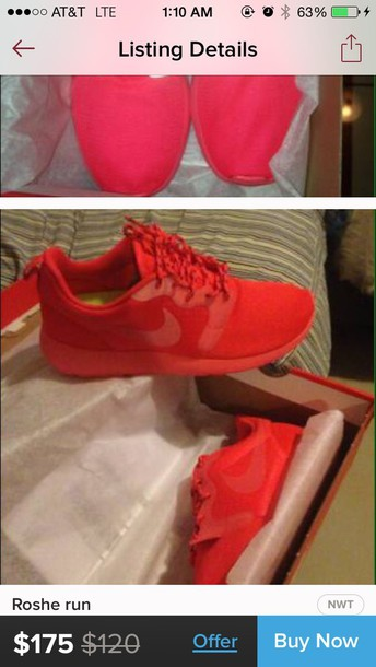 shoes red roshe runs sneakers