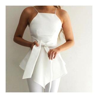 top white white top asymmetrical asymetric top summer summer top fashion elegant elegant top