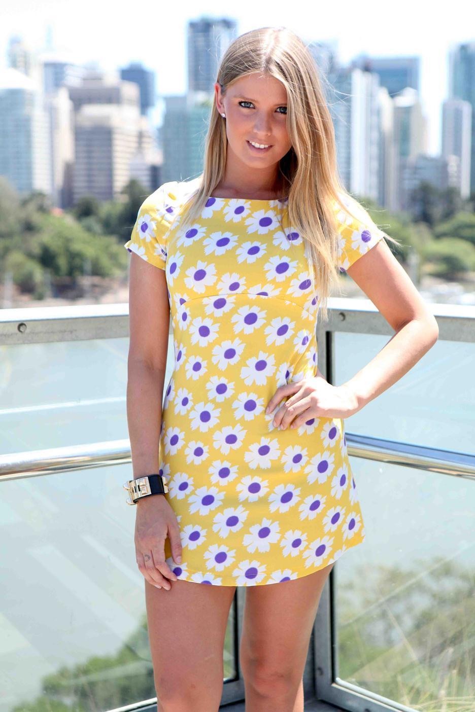 004b703b5 Yellow Day Dress - Yellow   Purple Daisy Print