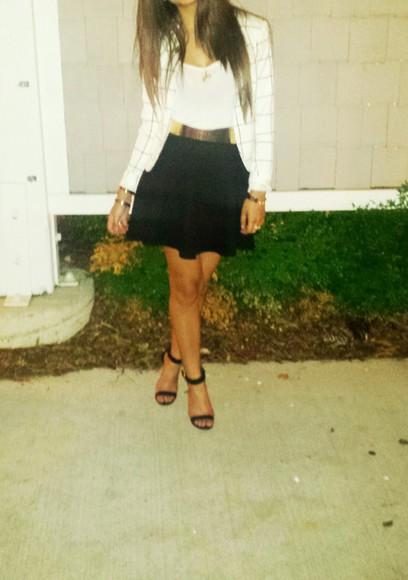 Belt h&m tjmaxx white blazer black skirt gold belt gold bracelet